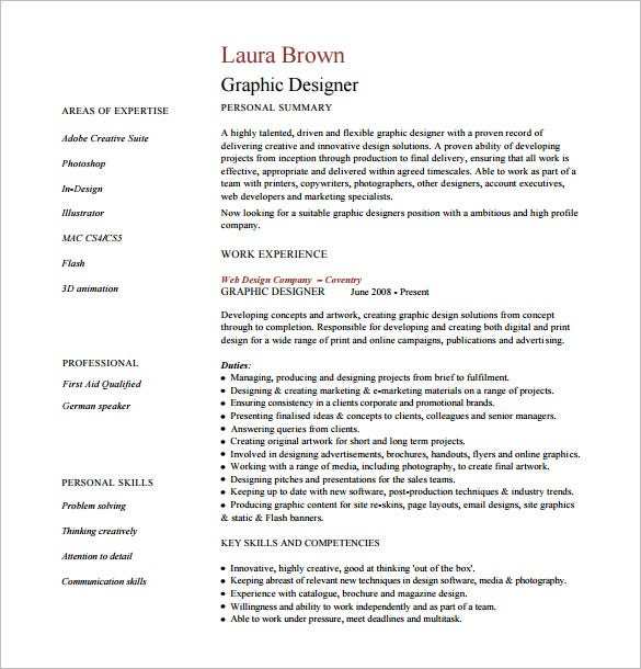 graphic desiner resume pdf free download