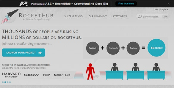 Rockethub Crownfunding Site