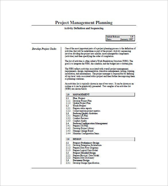 sample project task list template