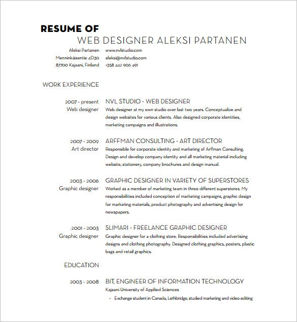 web designer resume pdf free download