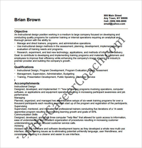 instructional designer resume pdf template download