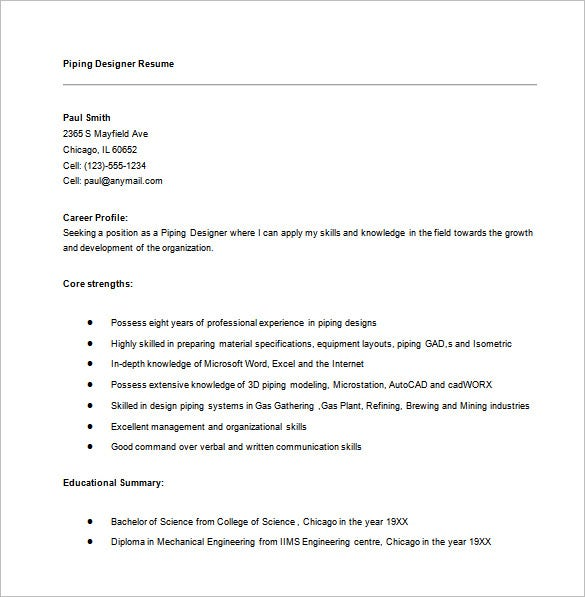 piping designer resume word template download