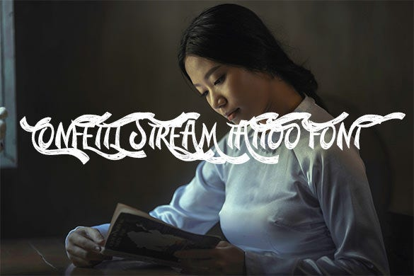 confetti stream tattoo lettering font for free