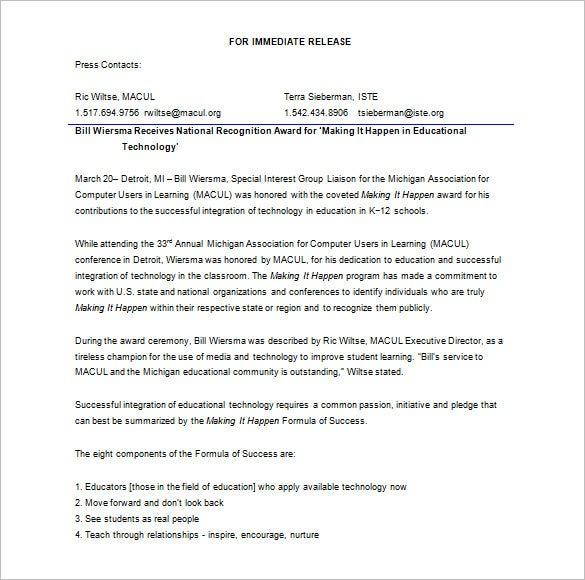 web draft press release template microsoft word