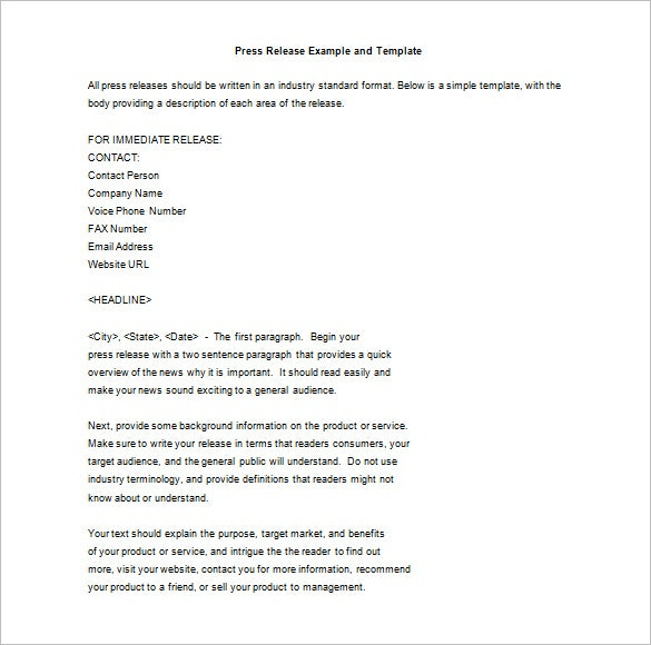 press release example and template format