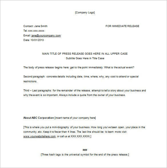 blank event press release sample download