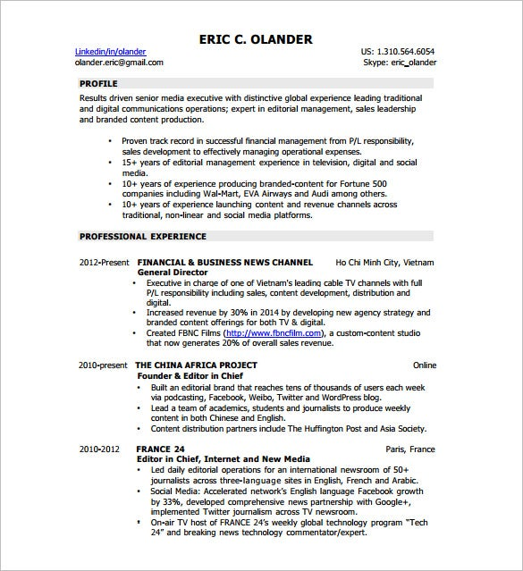 digital resume template 8 free word excel pdf format download - Web Producer Resume