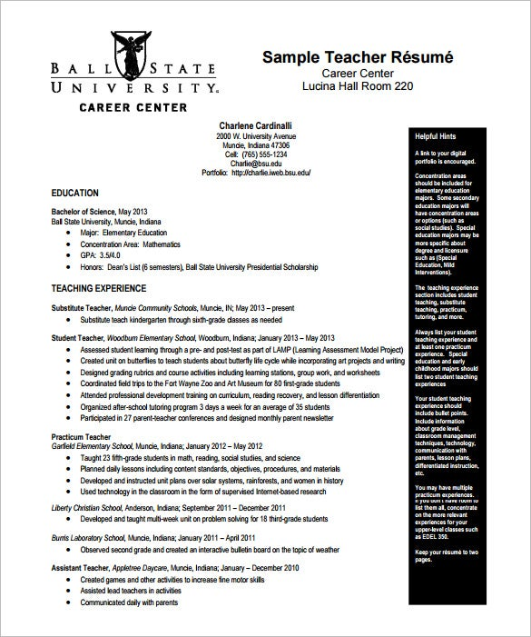 teacher resume format free download elementary template digital