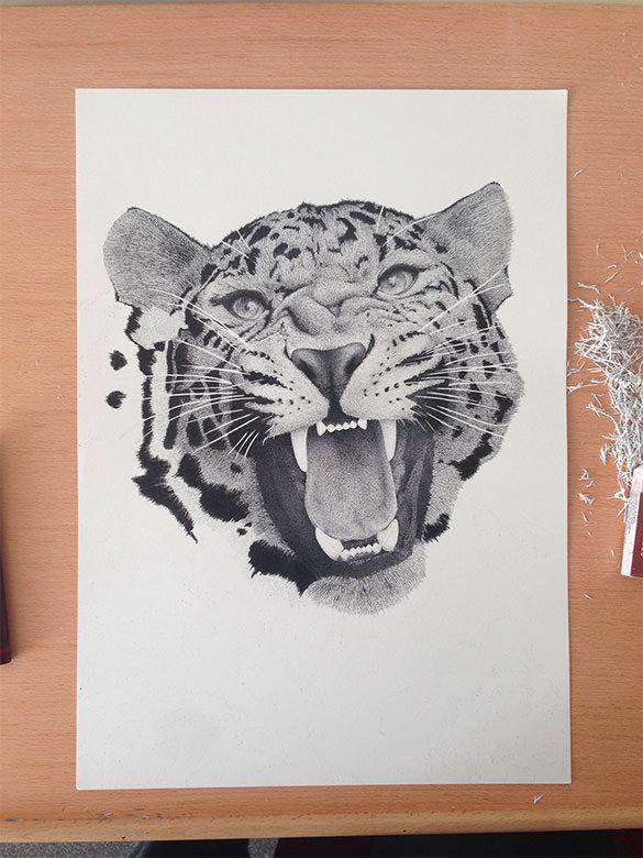 casatla xavier leopard pointillism art