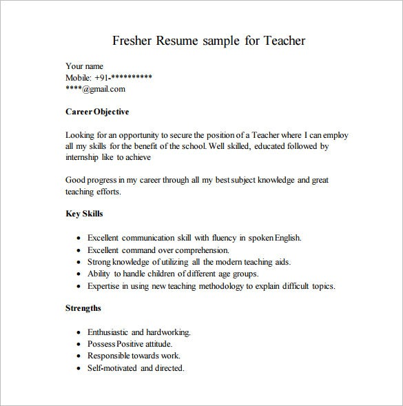 Resume for assistant professor fresher