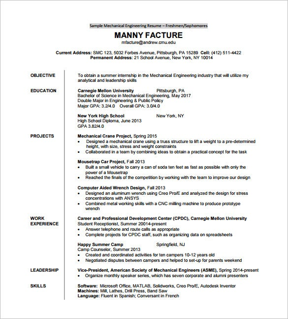 resume template for fresher  u2013 10  free word  excel  pdf format download