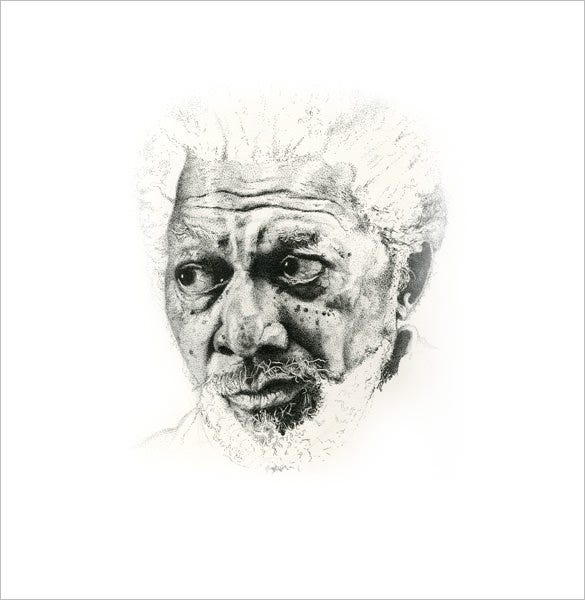 morgan freeman pointillism art