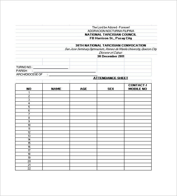 Attendance List Template   Free Word Excel Pdf Format Download