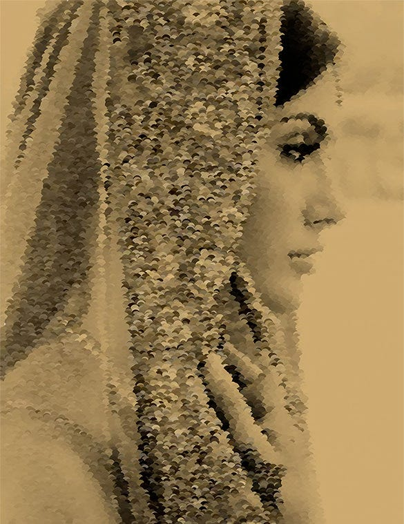 beautiful bride pointillism art