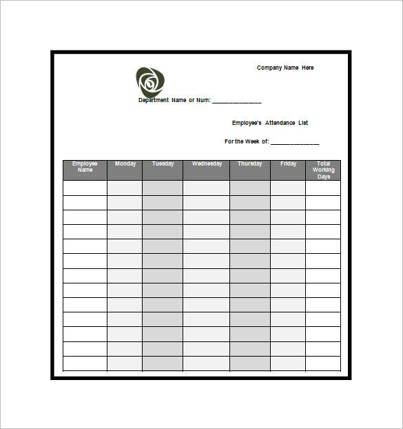 Attendance List Template 10 Free Word Excel PDF Format – Attendees List Template