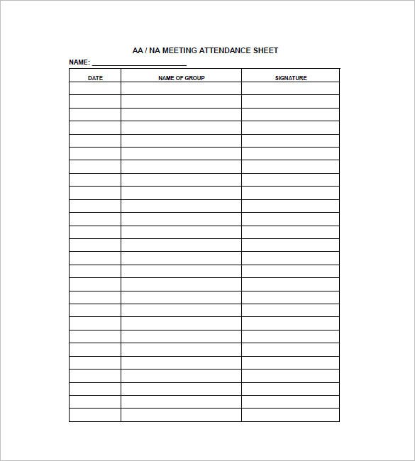 Meeting attendance list template choice image template for Group sign in sheet template