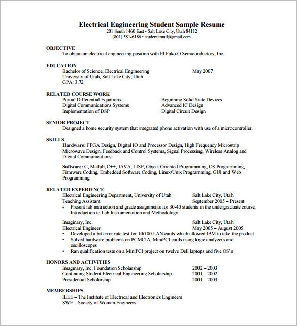 sample resume electrical engineer fresh graduate