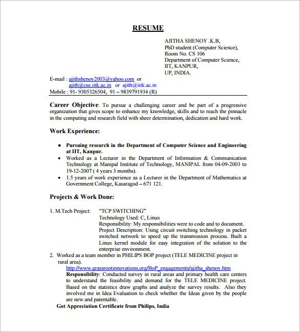 Resume Template For Fresher