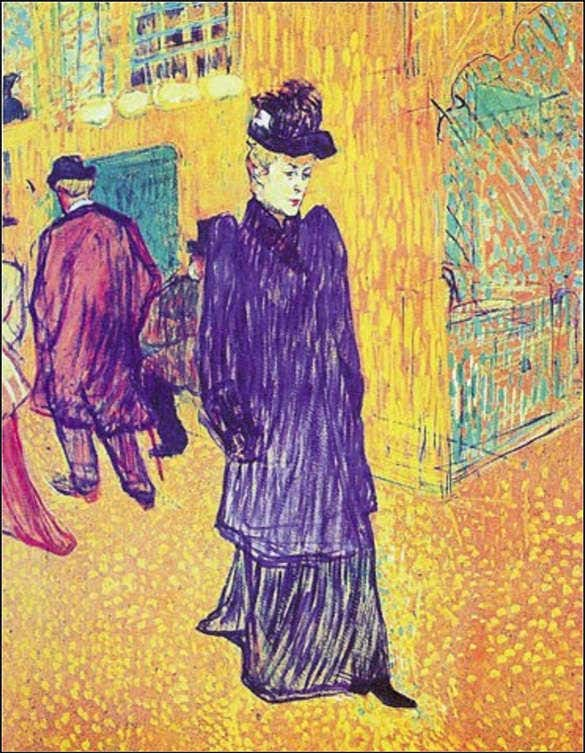 woman standing in streets pointillism art