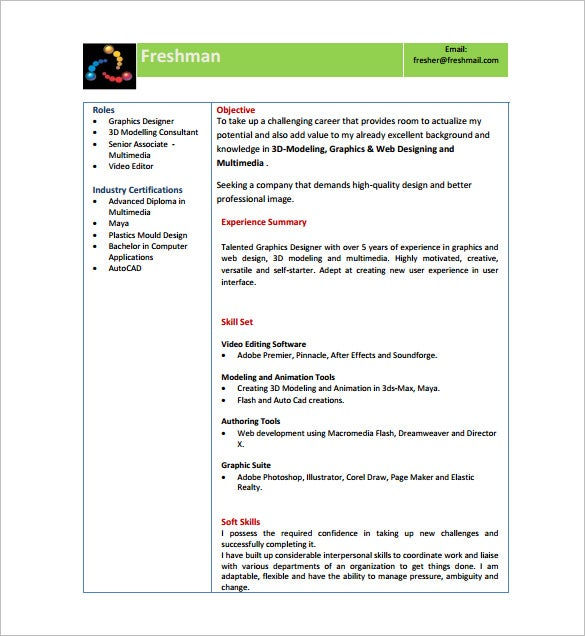 Resume template for fresher 10 free word excel pdf for Free resume download pdf