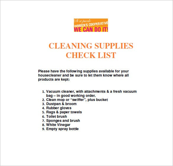 Cleaning List Template – 10+ Free Word, Excel, PDF Format Download ...