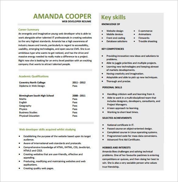 entry level web developer resume free pdf - Developer Resume Template