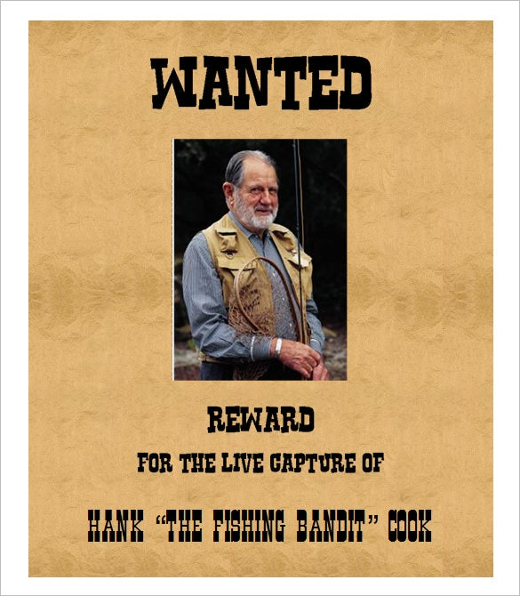 reward for live capture publisher wanted poster template