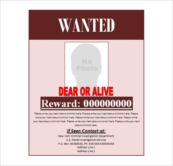 Doc480623 Reward Posters Template 19 FREE Wanted Poster – Wanted Poster Word Template