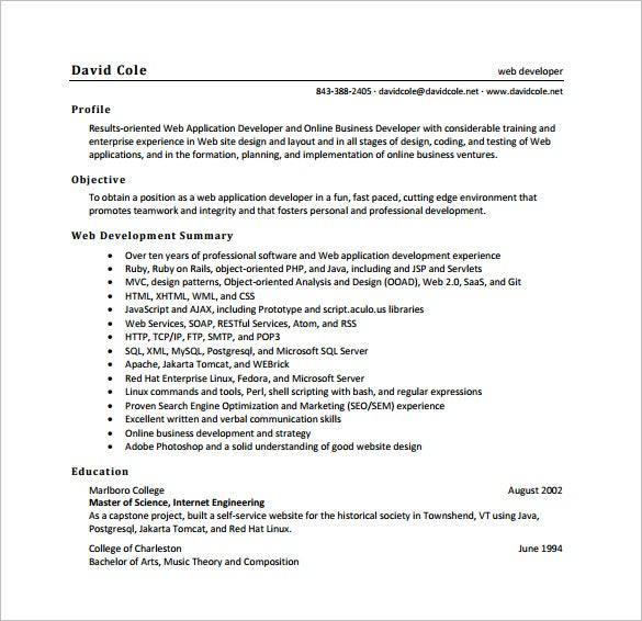 Good Web Developer Resume PDF Free Download For Sample Web Developer Resume