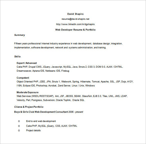 proffesional web developer resume word free download