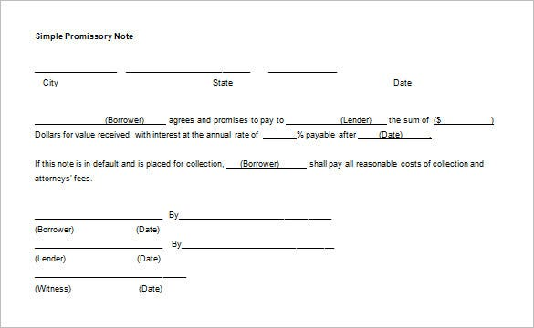 simple blank promissory note template word doc
