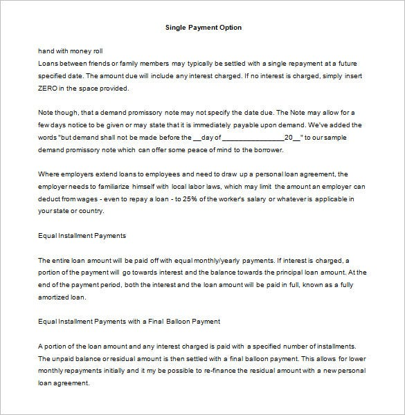 personal loan promissory note template