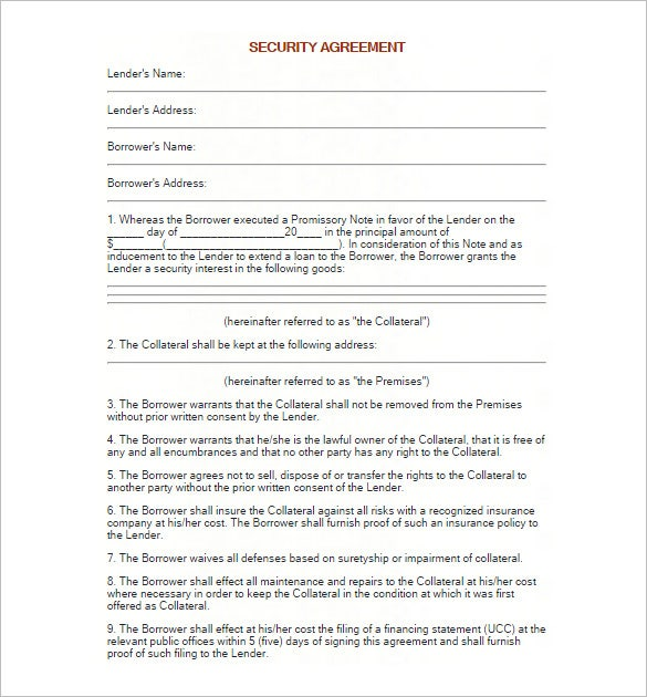 Promissory note template 27 free word pdf format for Security contracts templates