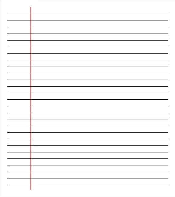 Great Printable Lined Paper Wide Ruled On Letter In Notebook Paper Word Template