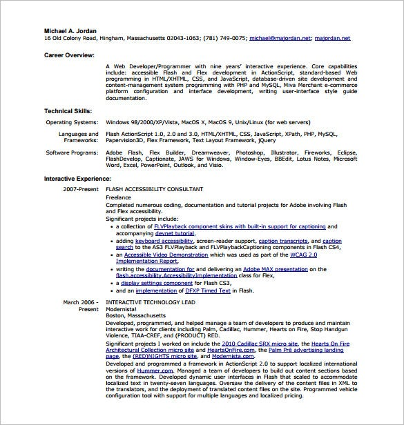 html web developer resume pdf free download