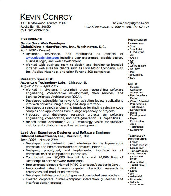 Java Web Developer Resume Template