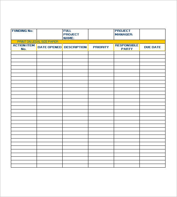 Action List Template 7 Free Word Excel Pdf Formats Download