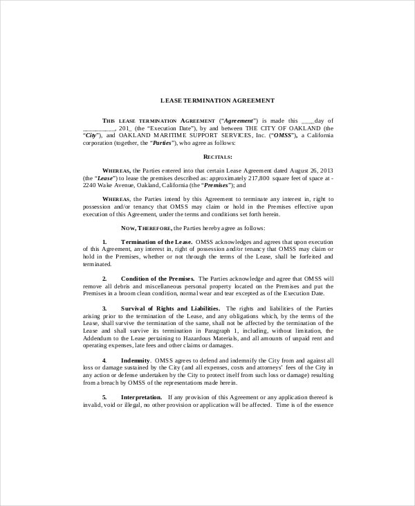 Lease Agreement Termination Template  Format Of Lease Agreement