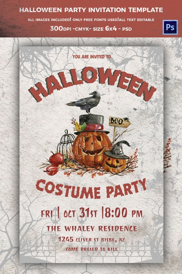 Halloween Costume Party Invitation Template On Cloth