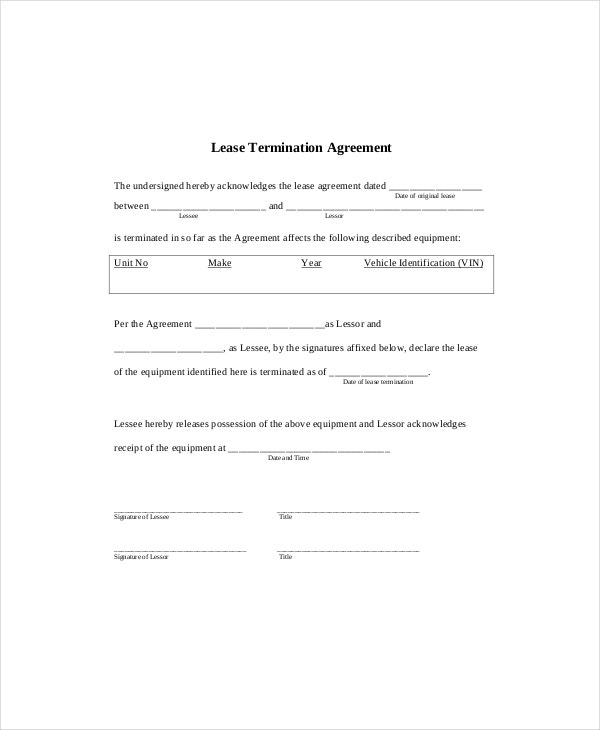 Lease Termination Templates  Free Sample Example Format