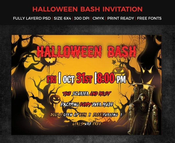 halloween bash printable invitation template