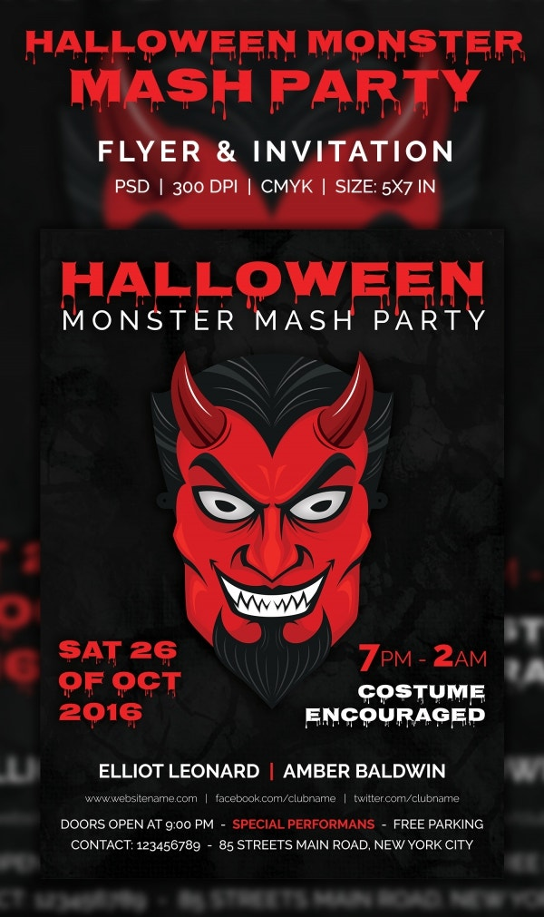 halloween monster mash party invitation template