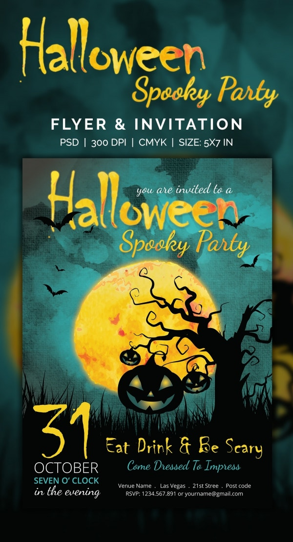 spooky castle halloween party invitation template