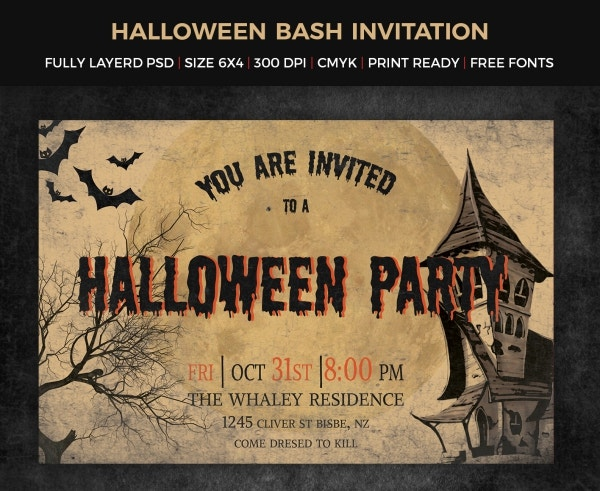 halloween party typography invitation template