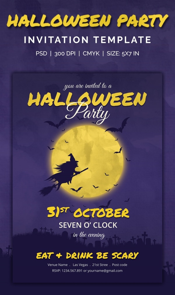 Full Moon Halloween Party Invitation Template