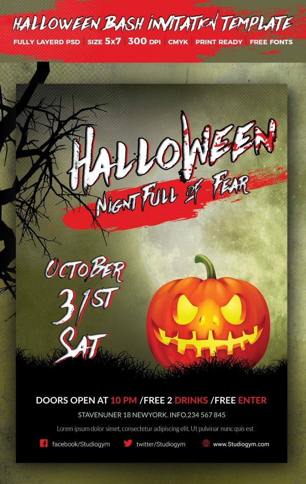 Colorful Fright Night Halloween Invitation Template