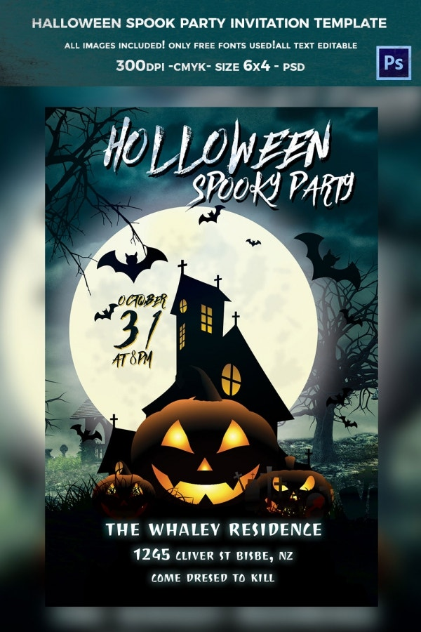 halloween spok party invitation teplate