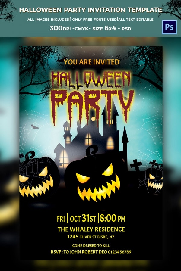 elegant glamorous halloween party invitation