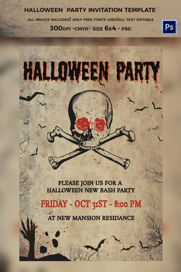 Creepy Halloween Invitation Template