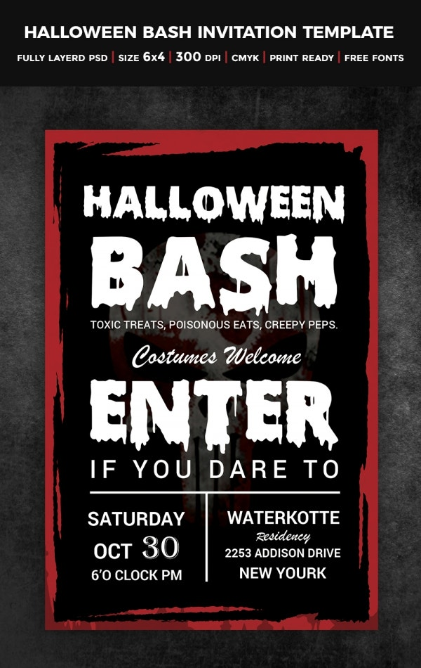 Halloween Party Bash Entrance Invitation